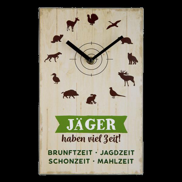 """Wanduhr """"Jäger haben viel Zeit"""""""