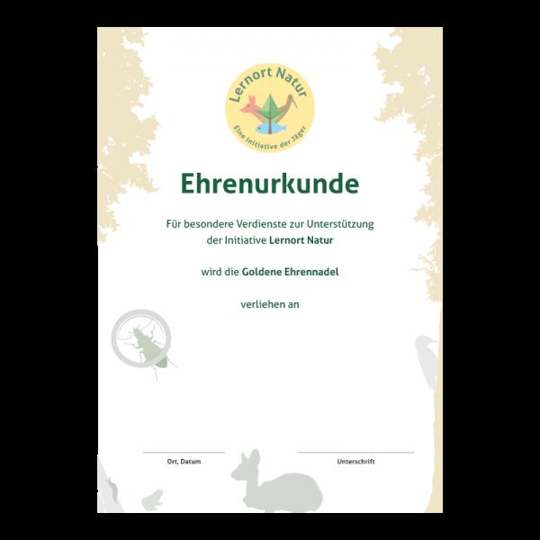 Lernort Natur-Urkunde Gold Verdienst