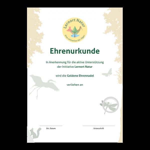 Lernort Natur-Urkunde Gold Anerkennung